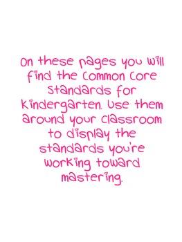 Kindergarten Common Core Standards Mini Cards