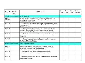Kindergarten Common Core Standards Organizer