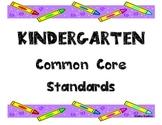 Kindergarten Common Core Standards Poster with Crayons