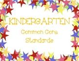 Kindergarten Common Core Standards Poster with Stars