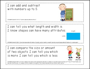 Kindergarten Common Core Standards Posters with your choice of colors