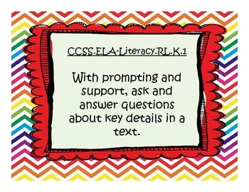 Kindergarten Common Core Standards (Rainbow Chevron Themed)