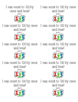 Kindergarten Common Core Standards Stickers