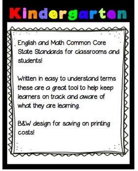 Kindergarten Common Core Standards Teacher and Student!