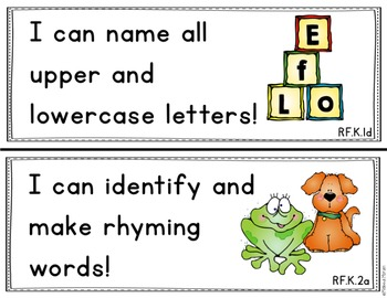 Kindergarten Common Core I Can Statements with Visuals