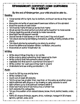 Kindergarten Common Core Standards at a Glance Math, Reading
