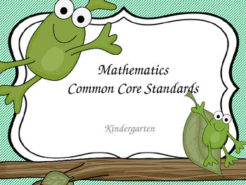 Kindergarten Common Core Math Standards for Wall- Frogs