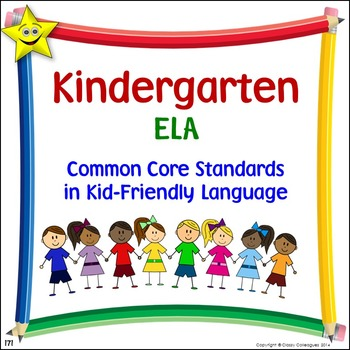ELA Kindergarten Common Core Standards Posters in Kid-Frie