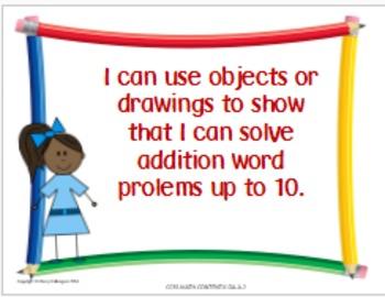 Math Kindergarten Common Core Standards Posters in Kid-Friendly Language