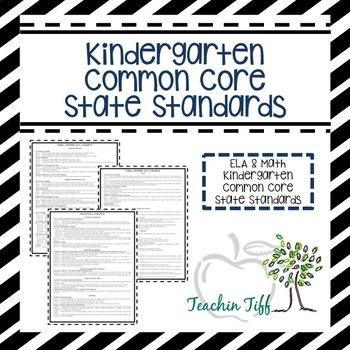 Kindergarten Common Core State Standards