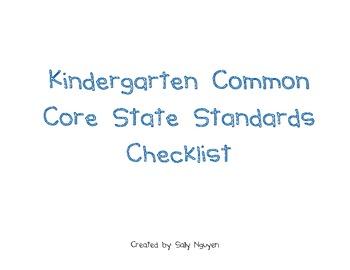 Kindergarten Common Core State Standards Checklist
