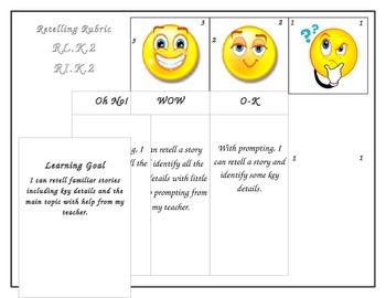 Kindergarten Common Core Story Retelling Rubric