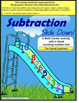 Kindergarten Common Core Subtraction Math Center Activity for Visual Learners
