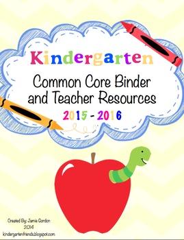 Kindergarten Common Core Binder and Teacher Resources