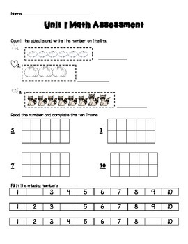 Kindergarten Common Core Unit 1 Assessment