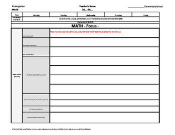 Kindergarten Common Core Weekly Lesson Plan Template w/ Drop Down Lists