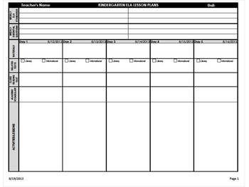 Kindergarten Common Core Weekly Lesson Plans - ELA & Math (Landscape Version)