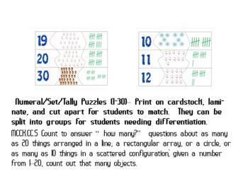 Kindergarten Common Core Winter Math Centers
