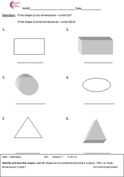 Kindergarten Common Core Math Worksheets Geometry All Standards K.G.A, K.G.B