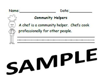 Kindergarten Common Core Writing Community Helpers Chefs