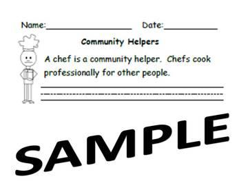 Kindergarten Common Core Writing Community Helpers Chefs
