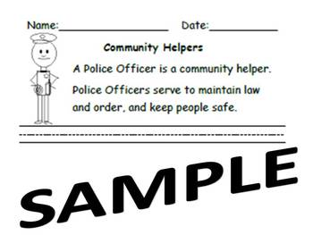 Kindergarten Common Core Writing Community Helpers Police Officers