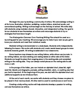 Kindergarten Common Core Yearlong Writing Plan
