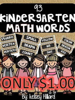 Kindergarten Common core math vocabulary (Burlap and chalk Theme) ONLY $1.00