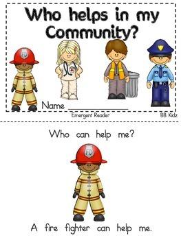 Kindergarten Community Helper Emergent Reader and Activities