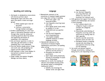 Common Core Kindergarten Reading/Language Arts Parent Brochure