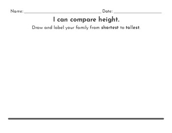 Kindergarten Compare + Order Height Shortest to Tallest Measurement Activity