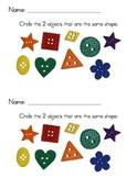 Kindergarten Comparing Attributes - Buttons Independent Pr