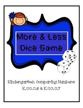 Kindergarten Comparing Numbers Dice Game