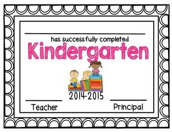 Kindergarten Completion Award