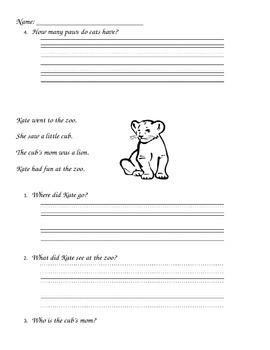 Kindergarten Comprehension Sheets