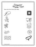 Kindergarten Computer Rhymes Worksheet