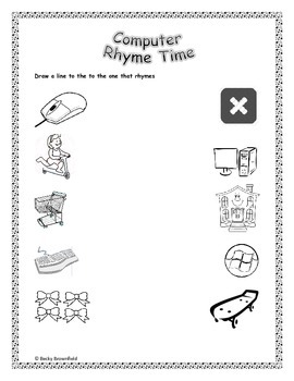 Kindergarten Computer Rhymes Worksheet