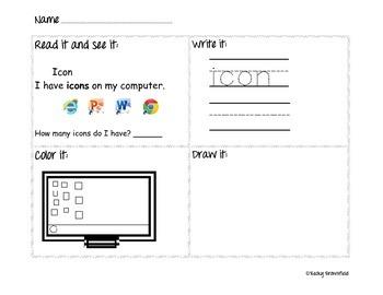 Kindergarten Computer Worksheet - Icons