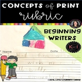 Kindergarten Concepts of Print Writing Rubric