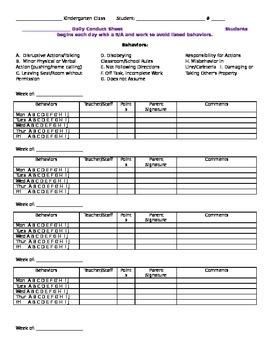 Kindergarten Conduct Sheet