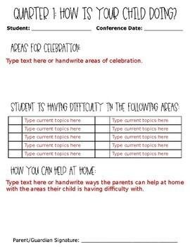 Kindergarten Conference Forms