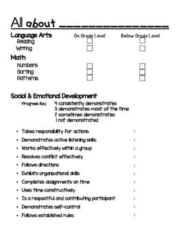 Kindergarten Conference Report Template
