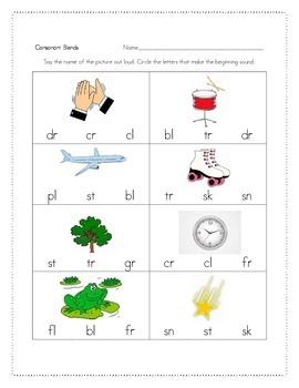 Kindergarten Consonant Blends 2