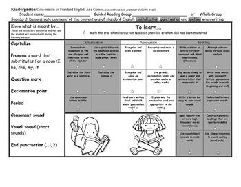 Language Standards at a Glance Kindergarten