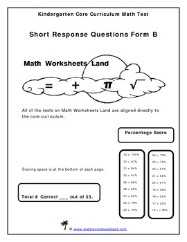 Kindergarten Core Aligned Math Test - Short Response Questions