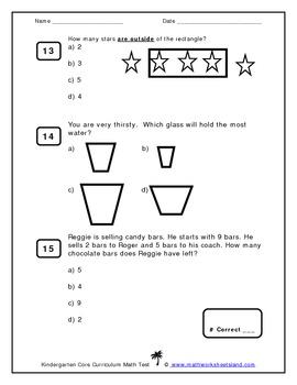 Kindergarten Core Curriculum Math Test Multiple Choice Format