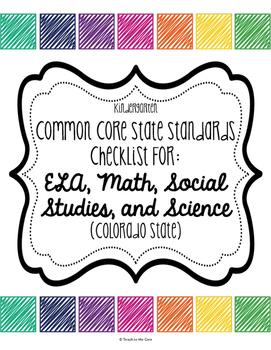 Core Standards Checklist *CCSS* Kindergarten