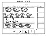 Kindergarten Practice Counting Animals in Lines