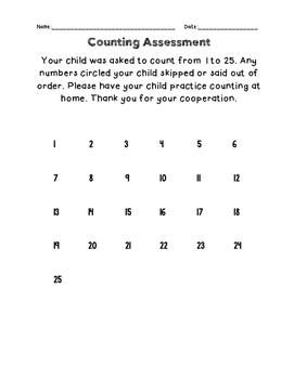 Kindergarten Counting Assessments