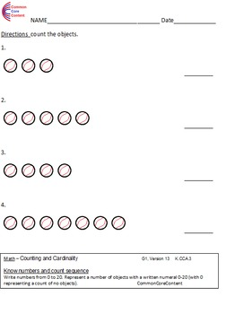 Kindergarten Counting & Cardinality Common Core Math Worksheets K.CC.